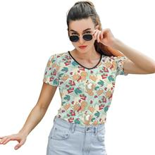 Strawberry Tee Shirt Pattern Womens T Shirt O Neck Trendy Short-Sleeve Street Wear Polyester T-Shirt