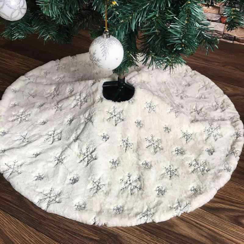 90cm 122cm Christmas Tree Skirt w/ Embroidered Snowflake Home Party Decor Round Carpet Christmas Decorations for Home Floor Mat