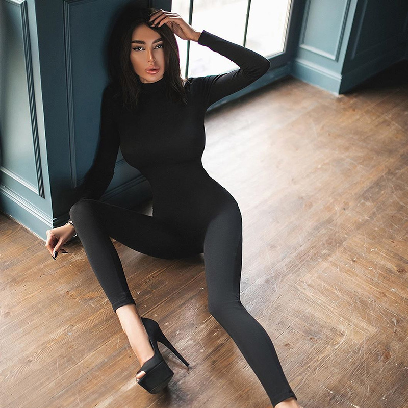 2021 Spring Women Kardashian Same Style Jumpsuit Fashion One Piece Outfits Sexy Long Sleeve Black White Bodycon Rompers