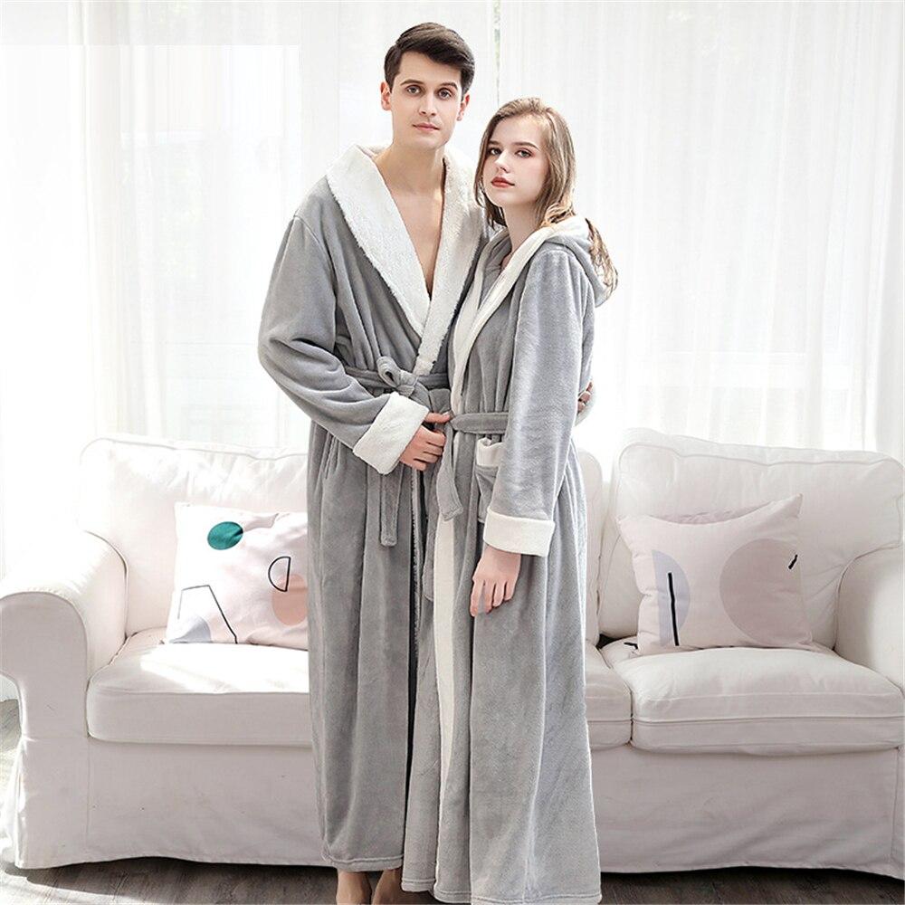 Men Women Couple Velvet Robe Long Sleeve Flannel Pajamas Thick Warm Bathrobe New