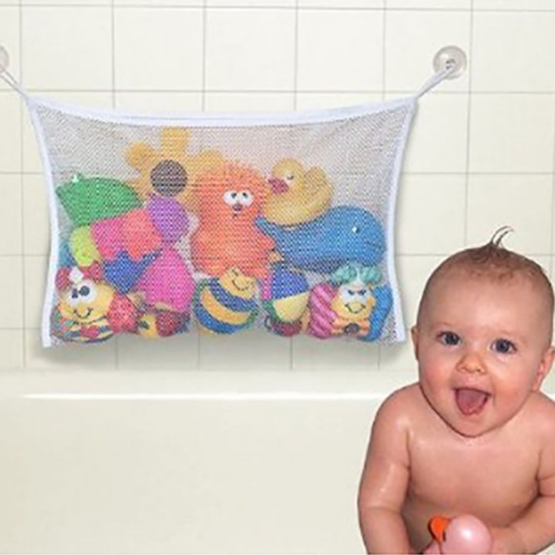 Infant Bathing Hanging Organizer Children Bathroom Mesh Bags Baby Bath Toy Storage Suction Cup Bag Kids Toys Tidy Bag With Net