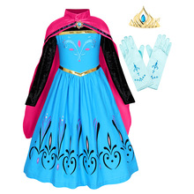 Little Girls Anna Dress with Cloak Toddler girls Princess Costume Flower Printing Halloween Party Cosplay Outfits winter clothes