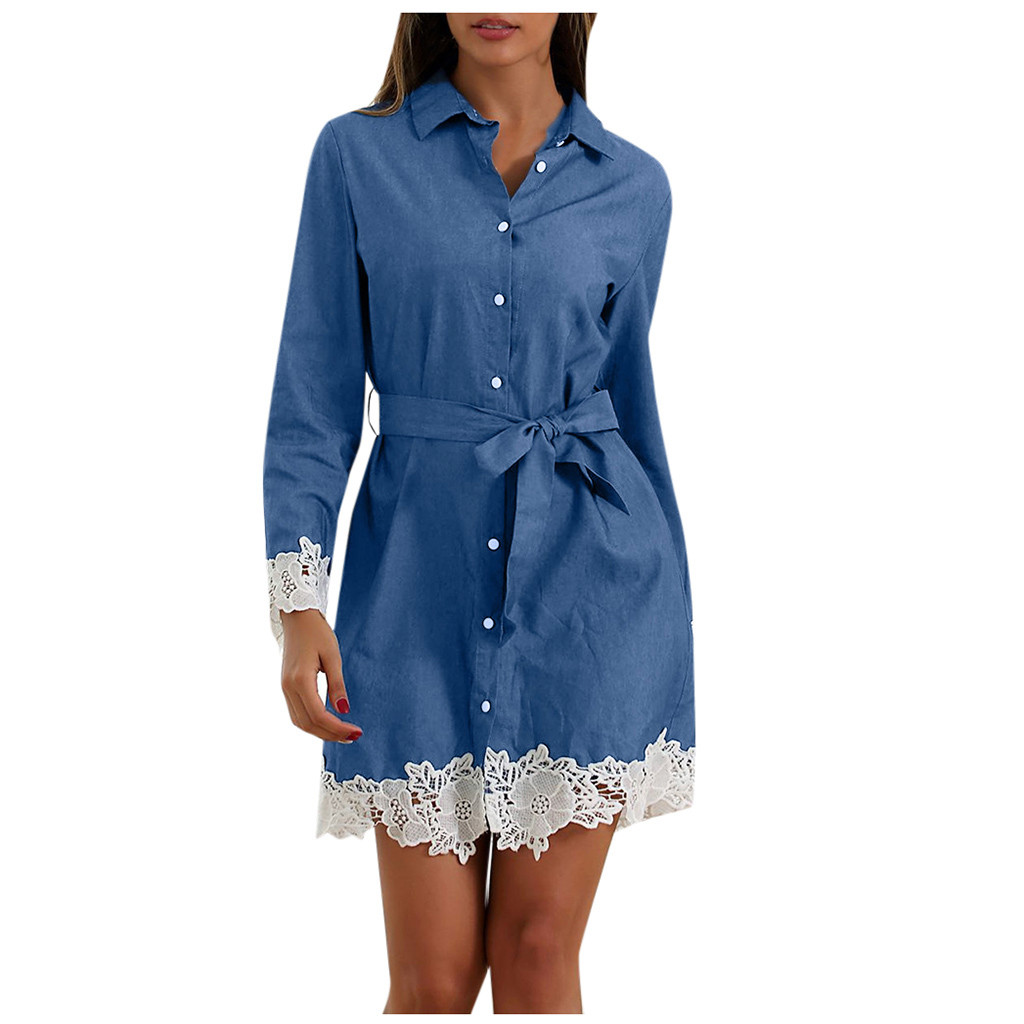 JAYCOSIN Fashion Women's Denim Elegant Office Dress Long Sleeve With Lace Patchwork Bow Party Bodycon Ladies Casual Mini Dress