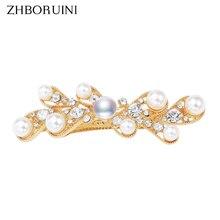 ZHBORUINI nueva pinza de pelo de perlas para mujer, 100%, joyería de perlas de agua dulce, pasador de belleza hecho a mano, accesorios