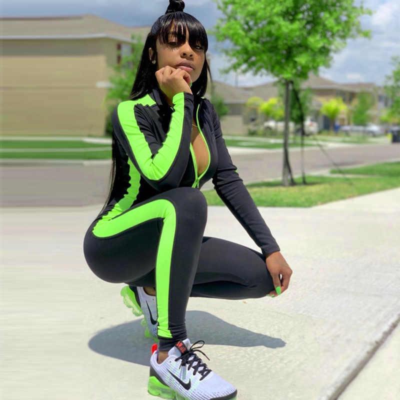 บอดี้สูทแขนยาว streetwear ผู้หญิงเซ็กซี่ Jumpsuits Skinny ถักผ้า Lady เสื้อผ้าฤดูใบไม้ร่วงฤดูหนาวใหม่ Playsuit