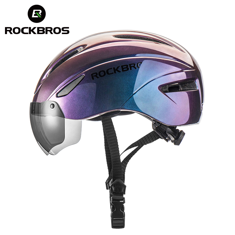 Casco de bicicleta ROCKBROS para hombre, casco de ciclismo transpirable de moldeado integrado EPS, gafas para mujer, lente Aero MTB, casco de seguridad en bicicleta