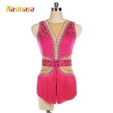 Nasinaya robe de patinage artistique personnalisée, pour filles, femmes et enfants, Performance, avec pompon RG