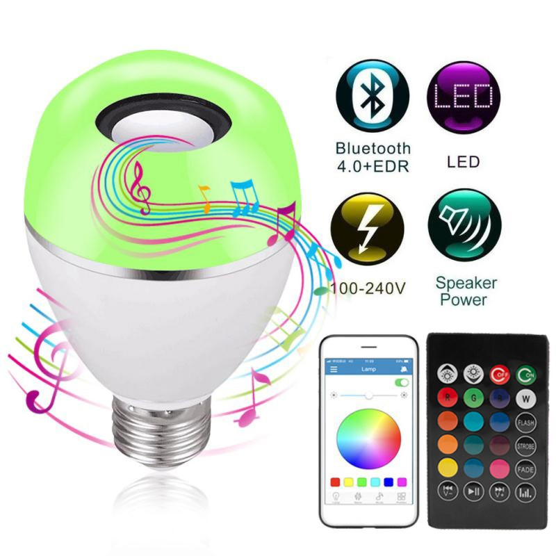 Diodo emissor de luz sem fio alto falante rgb música inteligente bulbo e26 base cor mudando com decorações de controle remoto