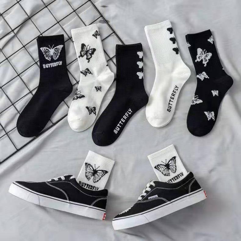 Kawaii в виде красивых животных, носки с бабочками женские носки черно-белые ноги ворсовые носки уличные спортивные трендовые женские носки в ...