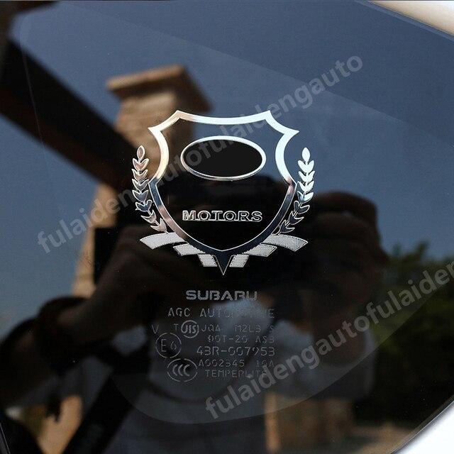 2 uds para Subaru para audi BMW para Lexus Placa de níquel emblema de Metal para coche fina de la ventana etiqueta engomada del cuerpo de accesorios de coche