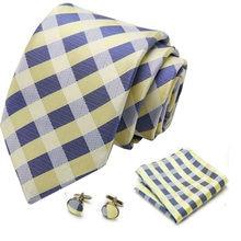 32Color New Design 7 cm Silk Tie Set Floral Ties Handkerchief And Cufflinks Business Wedding Party Printing Neck Ties For Men