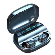 F10 TWS หูฟังไร้สายบลูทูธ 5.0 TOUCH Control หูฟัง IPX7 กันน้ำ 9D ชุดหูฟังสเตอริโอ 1200mAh Power Bank