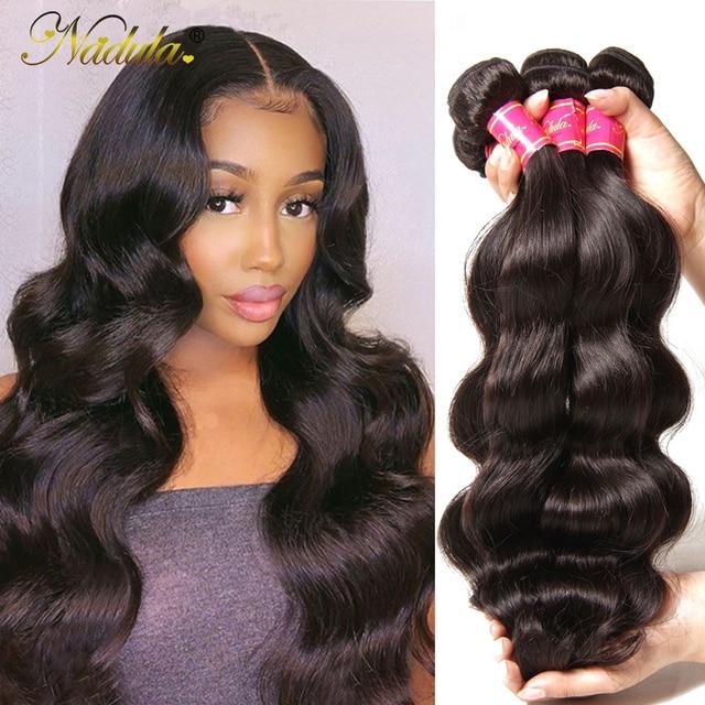 Nadula Hair Brazilian Body Wave Human Hair Weaves 3PCS/4PCS Brazilian Hair Body Wave Bundles Remy Hair 8 30inch Natural Color