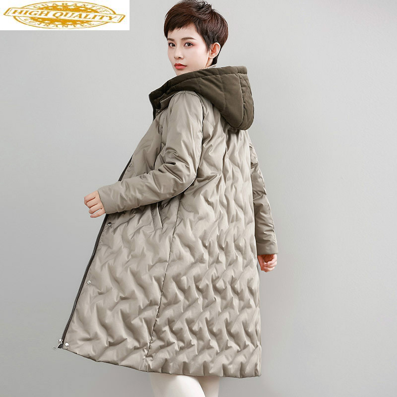 Long White Duck Down Jacket Woman Hooded Winter Puffer Down Coat Women Korean Womens Down Jackets WFWZ55W15 KJ3682