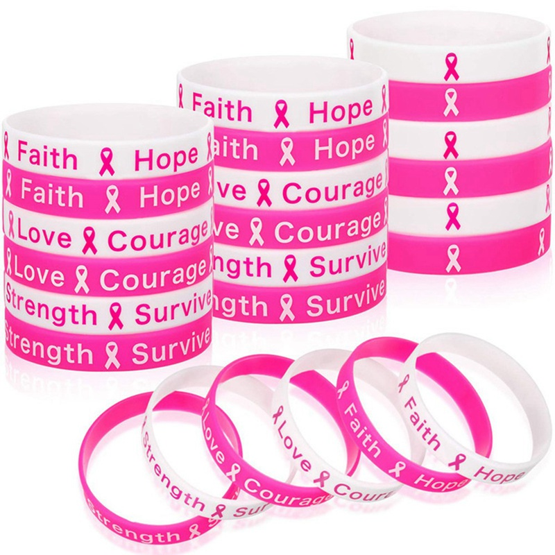Fighter Breast Cancer Awareness Ribbon Survival Silica gel Bracelets  Bracelet Bangles For Women Kids Pulseras de moda