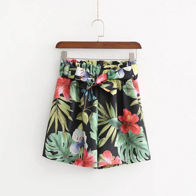 2019 Women High Waist   Short   Flower Printing Beach Style Female Ladies   Shorts
