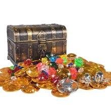 50 pçs plástico bitcoin ouro tesouro moedas capitão pirata festa tesouro baú criança tesouro moeda brinquedo jogar dinheiro