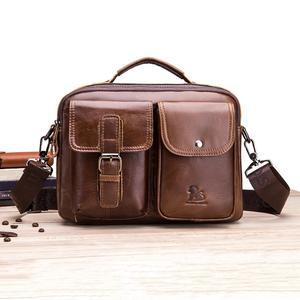 Image 1 - Männer Business Aktentasche Vintage Echtem Leder Laptop Umhängetasche Rindsleder Big Kapazität Tote Büro Handtasche Männer Aktentasche