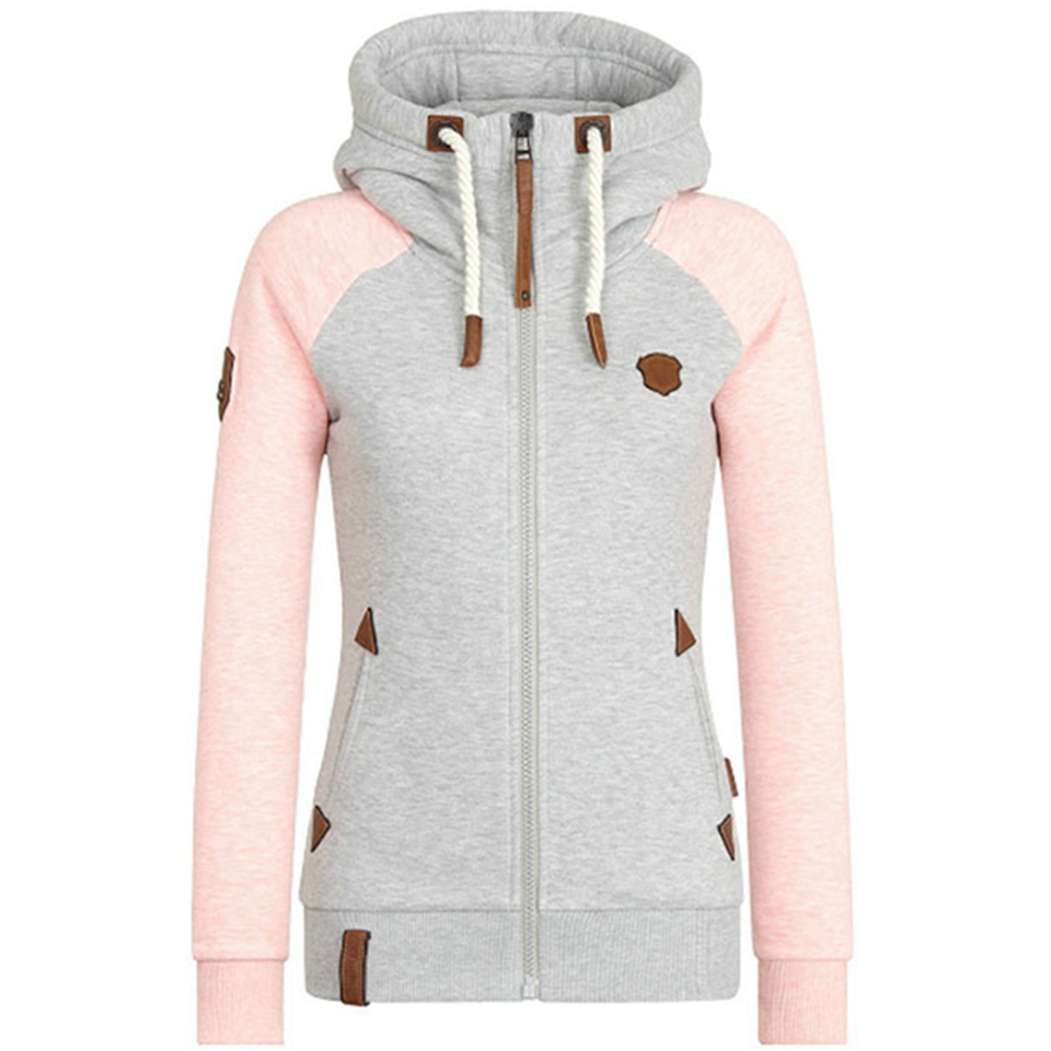 Raglan Sleeve Sweatshirt With Pocket Slim Fit Hoodies 5xl Poleron Mujer 2020 Leather Logo Zip Up Hoodie For Women Contrast Color
