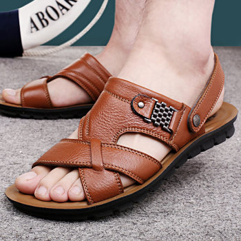 Plus Size Men Sandals Summer Genuine Leather Classic Shoes Slippers Soft Comfortable Walking Footwear