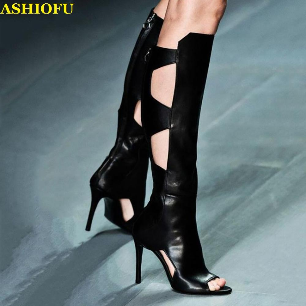 ASHIOFU Handmade New Womens Knee High Boots Sexy Peep-toe Autumn Club Party Boots Stripper Evening Fashion High Heel Boots Shoes
