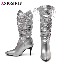 SARAIRIS New Autumn Luxury Brand Hot Sale Genuine Leather mid-claf Boots Women 2019 Pleated High Heel Shoes Woman 34-43