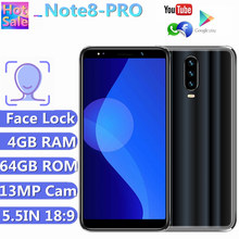 Original Smartphones Note 8 PRO 4G RAM 64G ROM Android Face Recognition Unlocked 13MP Mobile Phones Quad Core P35 MINI(China)