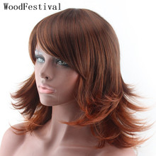 цена на womens wigs synthetic hair gradient wig harajuku red brown medium wig curly synthetic wigs heat resistant WOODFESTIVAL