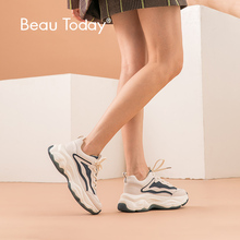 BeauToday Chunky Sneakers Women Genuine Cow Leather Round Toe Lace Up Mixed Colors Lady Casual Platform Shoes Handmade 29323