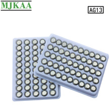 цена на MJKAA 100PCS AG13 Coin Cell Battery LR44 357 357A S76E G13 Alkaline Button Batteries AG 13 1.5V For Watch Electronic Remote
