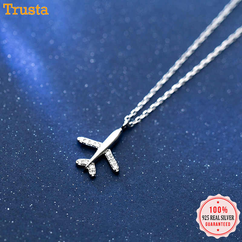 Trusta 100% 925 Sterling Silver Necklace Jewelry Travel Plane 925 Pendant Short Necklace Gift For Women Girl Teens DS1344