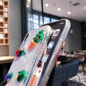 Image 5 - Bonito 3d legumes luminosa caixa do telefone para iphone xr caso x xs max 6s 6 7 8 plus cenoura transparente glitter estrela macio tpu capa