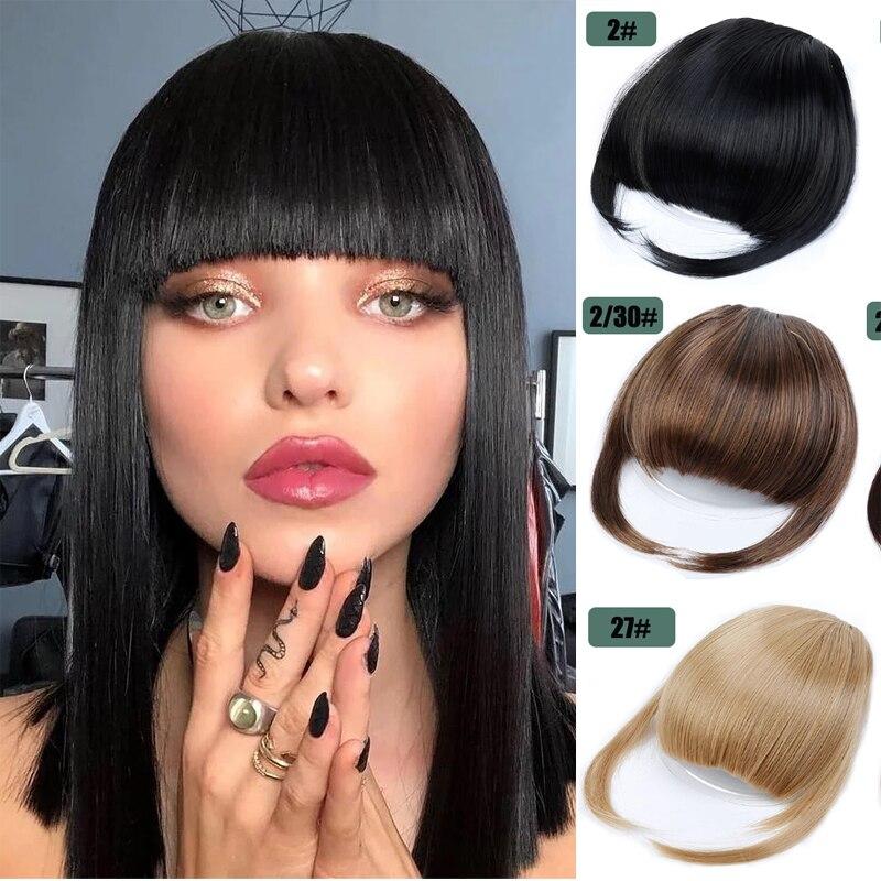 Термостойкая синтетическая челка для наращивания волос, аксессуар для волос