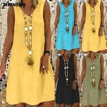 Vestido de talla grande MISSOMO, Vestidos femeninos de verano para mujer, vestido de lino, ropa de mujer 2019, vestido de mujer 624
