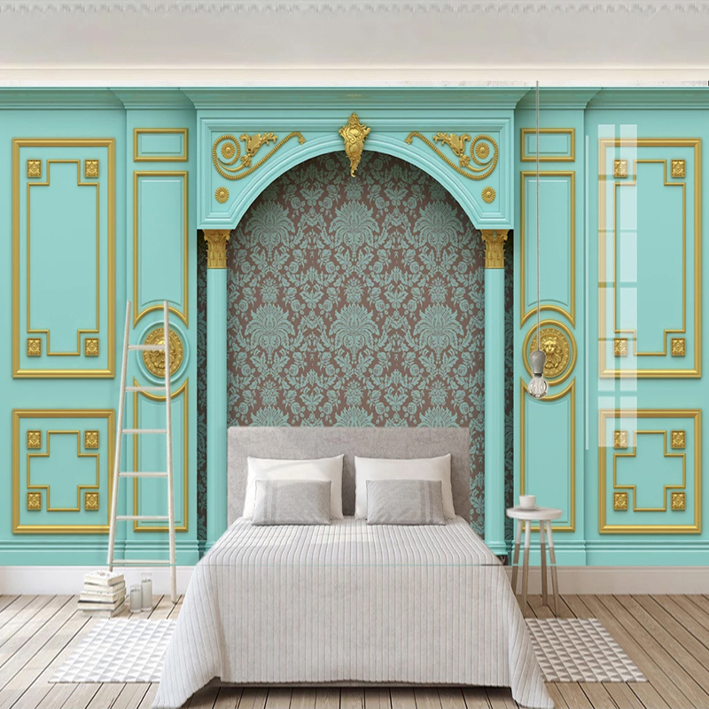 Custom 3D Mural Wallpaper Luxury European Style Embossed Blue Gold Lattice Living Room TV Background Photo Wall Paper Bedroom