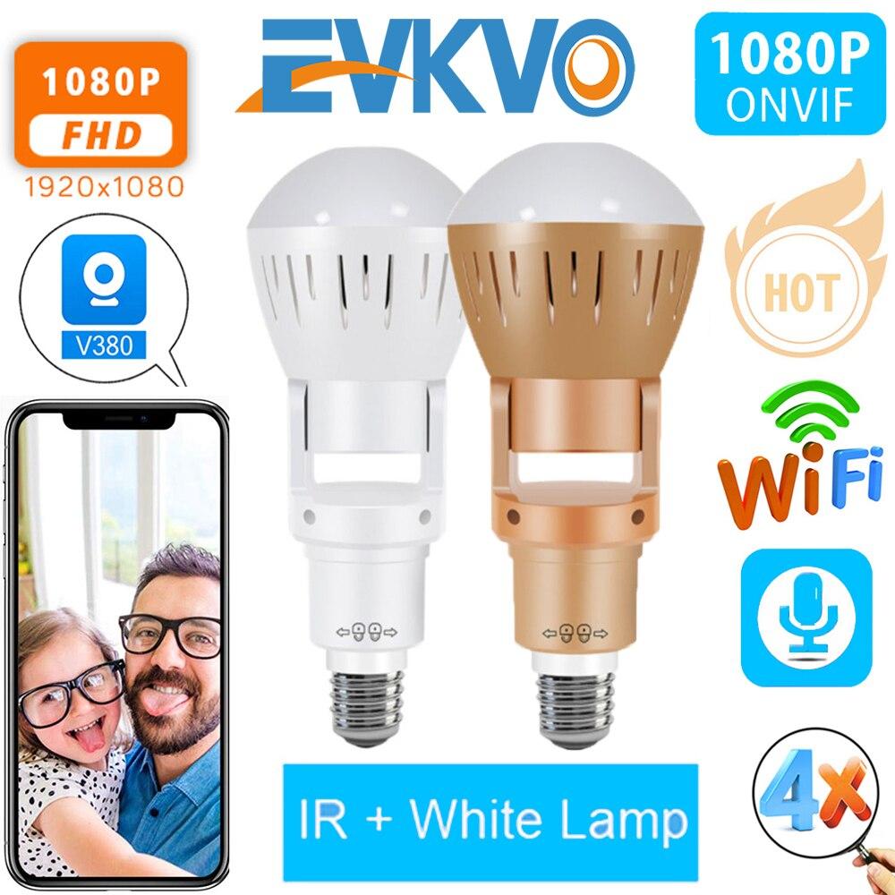 EVKVO 360 Degrees Fisheye Lens Panoramic IP Camera Infrared White Light Wireless 960P HD Wi-FI Mini Bulb Lamp CCTV Home Security