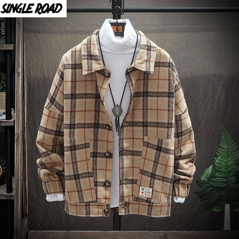 SingleRoad Mens Woolen Jacket Men Retro Vintage Casual Wool Plaid Coat Male Coats Jackets Korean Clothes Japanese Streetwear Man