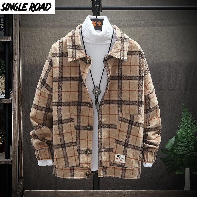 SingleRoad Mens Woolen Jacket Men Retro Vintage Casual Wool Plaid Coat Male Coats Jackets Korean Clothes Japanese Streetwear Man