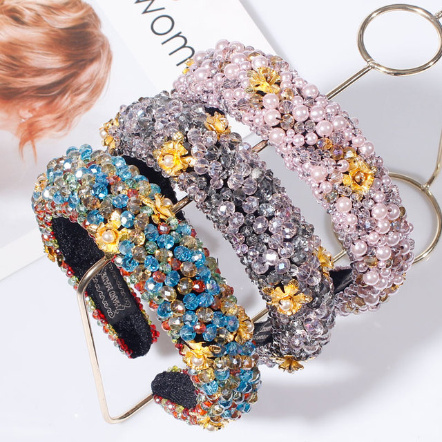 Rhinestone Sponge Velvet luxury Headband 1