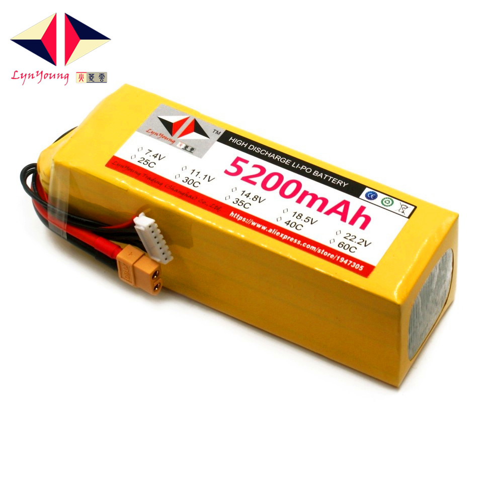 22.2V <font><b>5200mAh</b></font> 25C 30C 35C 40C 60C <font><b>6S</b></font> <font><b>Lipo</b></font> Battery For RC Boat Car Truck Drone Helicopter Quadcopter Airplane UAV image