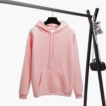 Ailegogo New Women Fleece Hoodies Lady Streetwear Sweatshirt Female White Black Winter Warm Hoodie Solid Color Outerwear 4