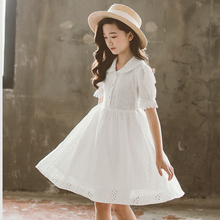 White Classic Royal Elegant Princess Dresses Girls Vintage Birthday Party Costume Kids Sweet Cotton Lace Girl Dress Child Clothe