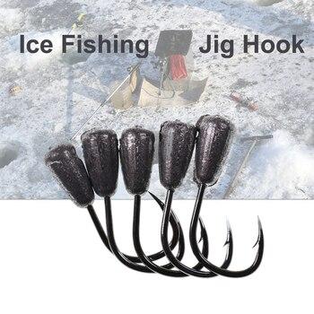 Mini anzuelos de pesca en hielo de 10 Uds., anzuelos de cabeza de anzuelo de plomo, anzuelo de pesca de atado de moscas con punta, 0,3g, 0,5g, 0,7g, 1g