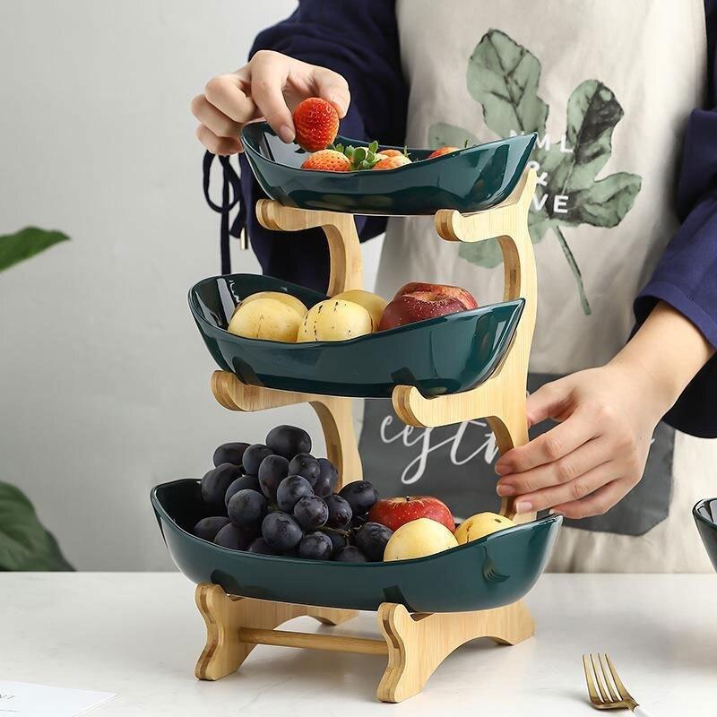 Керамическая конфетная тарелка для гостиной дома трехслойная Фруктовая тарелка для закуски тарелка креативная Современная корзина для сухофруктов-1