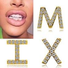 Хип хоп 26 букв золотой цвет зубы grillz Стразы со льдом грили