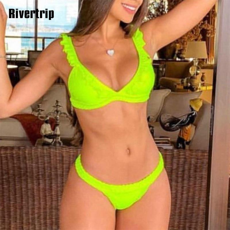 Rivertrip Push Up Bikini Ruffle Swimsuit Sexy Thong Biquini Braided Rope Swimwear Women Solid Beach Wear 2019 Bathing Suit