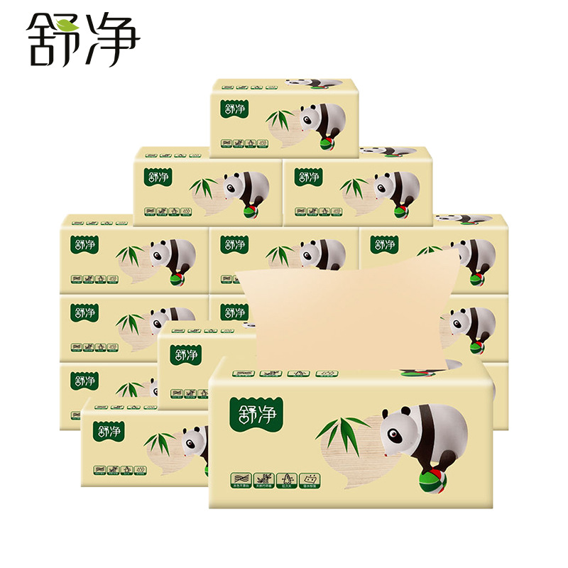 Shujing 3 Layer 100 Original Bamboo Pulp Natural Color Paper Benefits Household Square Napkins Hotel Facial Tissues