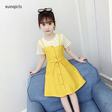 2-14year New Baby Girls Dress Summer Teenage Girl Princess Dresses Striped Yellow Vestidos  Children Girl Clothing summer girl dress striped star grey baby girl dress children clothing children dress 2 6years
