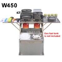 2-3 Person Außen Mobilen Küche 304 Edelstahl Faltbare Kochen Schreibtisch Wandern Camping Gas Herd Herd + Windschutzscheibe w450