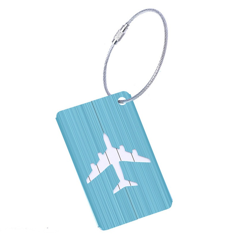 New Aluminium Travel Luggage Baggage Tag Suitcase Identity Address Name Labels(Blue)
